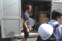 裏門に避難用備品倉庫がありました。